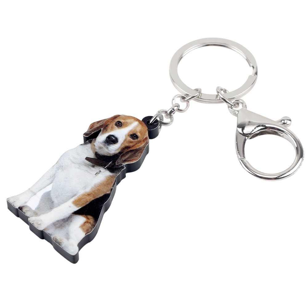 Bonsny Acrílico Declaração Beagle Cão Chaveiro Chaveiro Anel Nova Moda Animais Jóias Para Mulheres Meninas Saco de Encantos Do Carro Atacado
