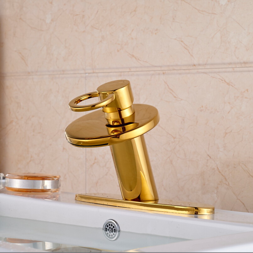 Modern Golden Waterfall Basin Mixer Faucet Deck Mount Bathroom One Hole Hot Cold Taps with 8 Hole Cover Plate modern waterfall dual handles bathroom basin faucet deck mount brass golden basin sink mixer taps