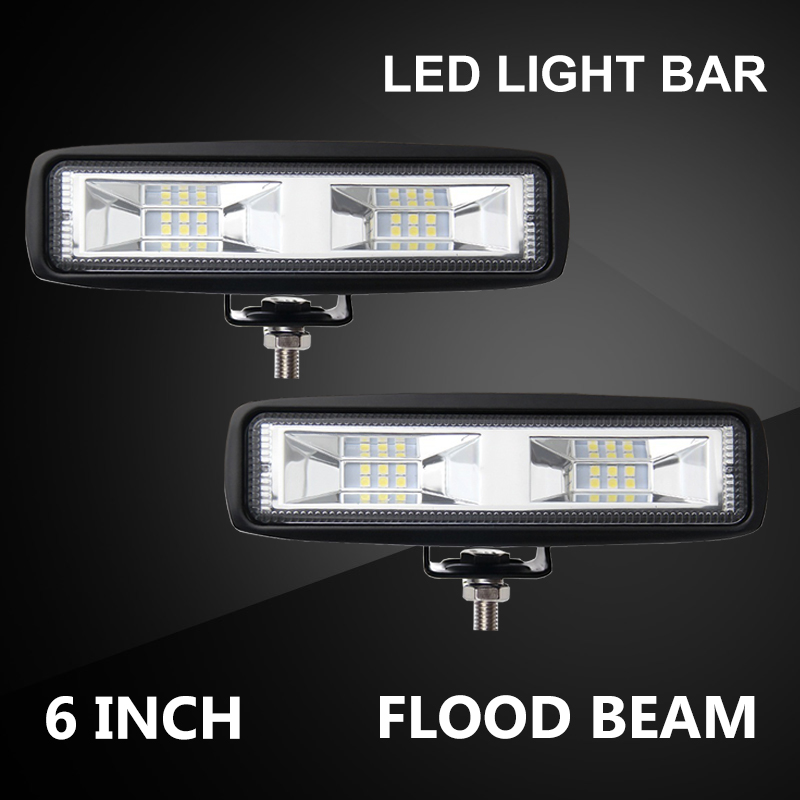 6 inch 48W <font><b>16</b></font> <font><b>LED</b></font> <font><b>Work</b></font> <font><b>Light</b></font> Bar Spot Flood <font><b>LED</b></font> <font><b>Light</b></font> Bar for Offroad Car 4WD Truck Tractor Boat Trailer SUV <font><b>LED</b></font> <font><b>Work</b></font> <font><b>Light</b></font> 12V image