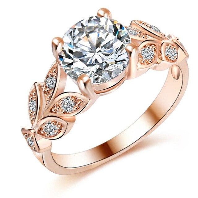 346422c4c19af9 Cyrkon biżuteria ślubna pierścionki zaręczynowe dla kobiet w stylu vintage  kryształ bague liście pierścień