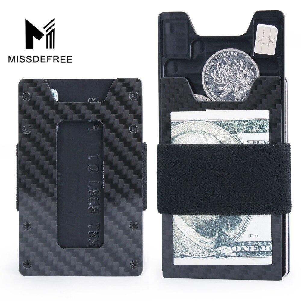Minimalista De Fibra De Carbono Carteira Magro para Homens & Mulheres de Slim Bolso Frontal Wallet & Titular do Cartão de Crédito RFID Bloqueio