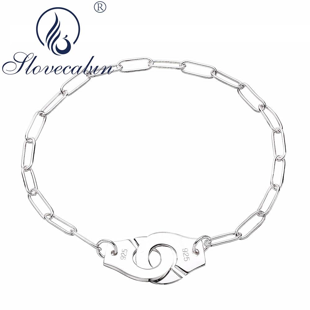 f0e6176029f8 Slovecabin Real 925 pulseras de plata de ley para Mujer Pulsera Mujer  esposas encanto brazaletes ...