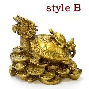 Image 5 - סין Fengshui פליז הדרקון צב צב עושר מזל פסל מתכת מלאכות פנג שואי מתנת קישוטי מתכת מלאכת יד