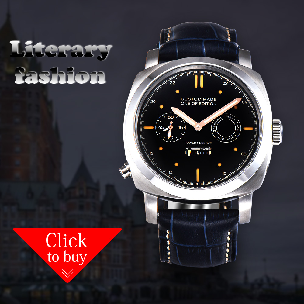 Watch 44MM PARNIS Men's High Mineral Glass Black Case Dial Silver Stainless Steel Leather Automatic Movement PS-03