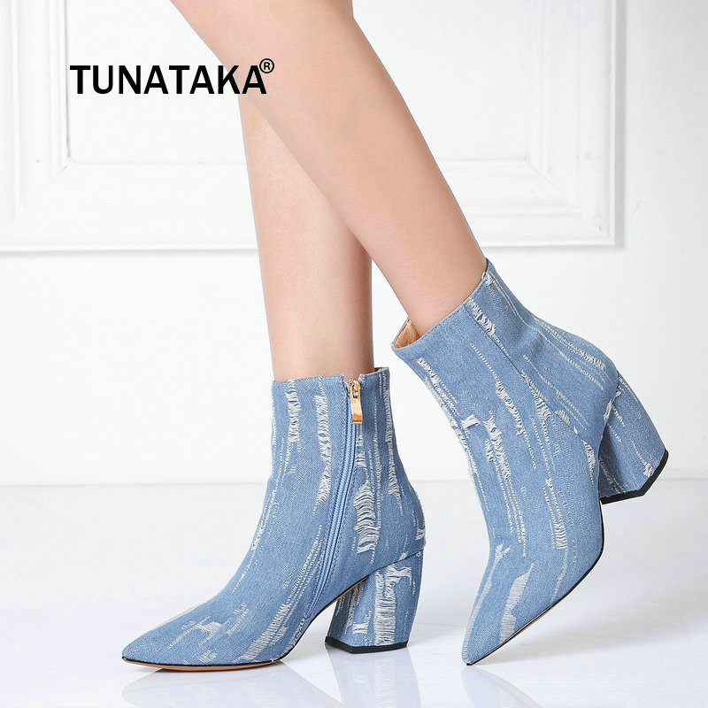 For Women's Fashion Denim Side Zipper Ankle Boots Comfortable Square Heel Pointed Toe Shoes Black Blue