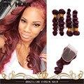 Бургундия Свободная Волна Бразильских Волос Свободные Глубокая Волна Свободно Вьющиеся Дева волосы 99J Красный Темный Спираль Curl Weave 4 Связки С Закрытием