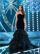 Full Cascading Ruffle Mermaid Sexy Evening Dresses Black Velvet Prom Gowns Beautiful Miss Usa Pageant Dress Custom
