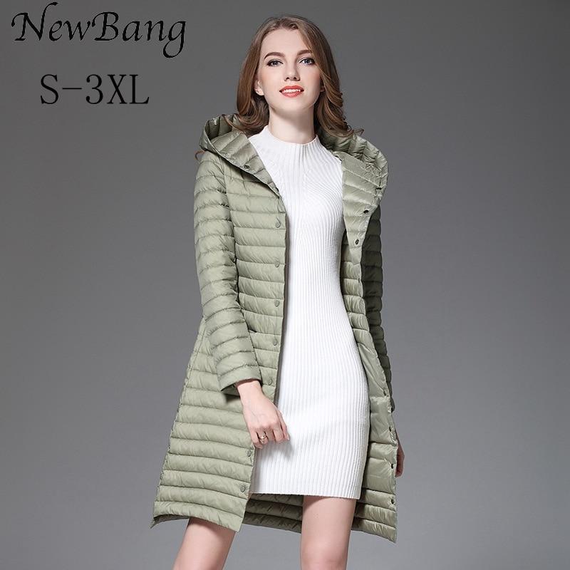 NewBang Winter Long Women Down Jackets Ultra Light Down Jacket Women With Hooded Single Breasted Coats