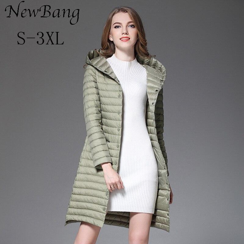 Newbang 겨울 긴 여성 다운 재킷 울트라 라이트 다운 재킷 여성 후드 싱글 브레스트 코트 여성 윈드 자켓-에서다운 코트부터 여성 의류 의  그룹 1