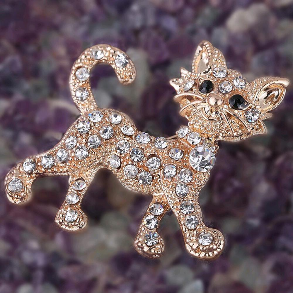 FAMSHIN New Shining gold luxury full Rhinestone Tiger vintage wedding gift brooch fine jewelry and fashion brooches for women