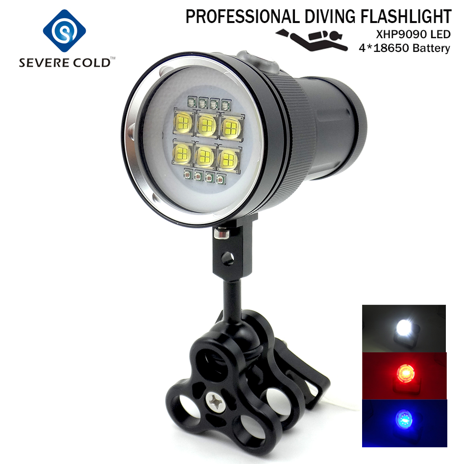 Professional LED Diving Flashlight  White Red UV Light Underwater Photograph Light Video Diving Flash Lamp Scuba Diving Light scuba dive light