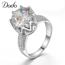 Rings big stone crown Crystal Jewelry 585 white gold filled ring bague luxury engagement wedding dress