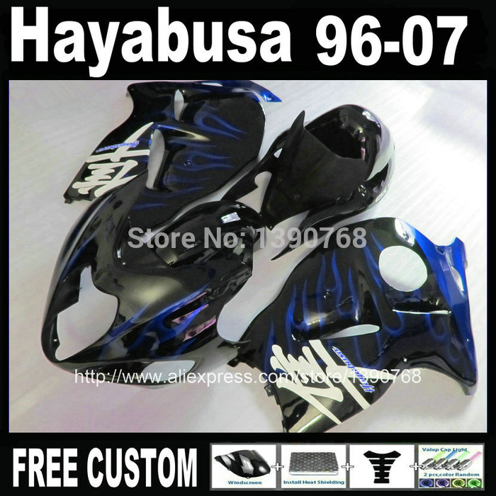 Motorcycle fairing kit for hayabusa suzuki GSXR1300 1996-2007 blue flames in black fairings set GSX1300R 96-07 + Tank BT47