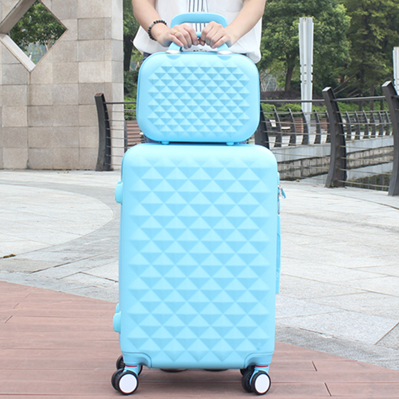 Wholesale! 14 20inches abs pc hard case trolley luggage sets,black picture box universal wheels trolley luggage bag travel bag