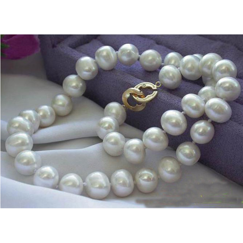 купить Charming Real Pearl Jewellery,17inches AA10-13mm Huge White Round Freshwater Cultured Pearl Necklace,New Free Shipping недорого