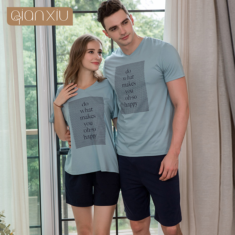 1855 Qianxiu 2018 Summer New Couples Set Modal Men's Printed Cotton Short Sleeve Set Ocean Blue