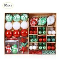 90pcs/lot 30mm Christmas Tree Decor Ball Bauble Sets Xmas Party Hanging Ball Ornament Decorations For Home Christmas Decorations