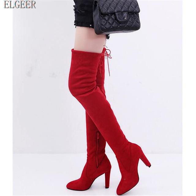 ELGEER Kadın Ayakkabı Sonbahar Zip Kalın Topuk Uyluk Yüksek Çizme Kadın Yeni Superstar Diz üstü Çizmeler Kadın Moda Kışlık Botlar 34-41