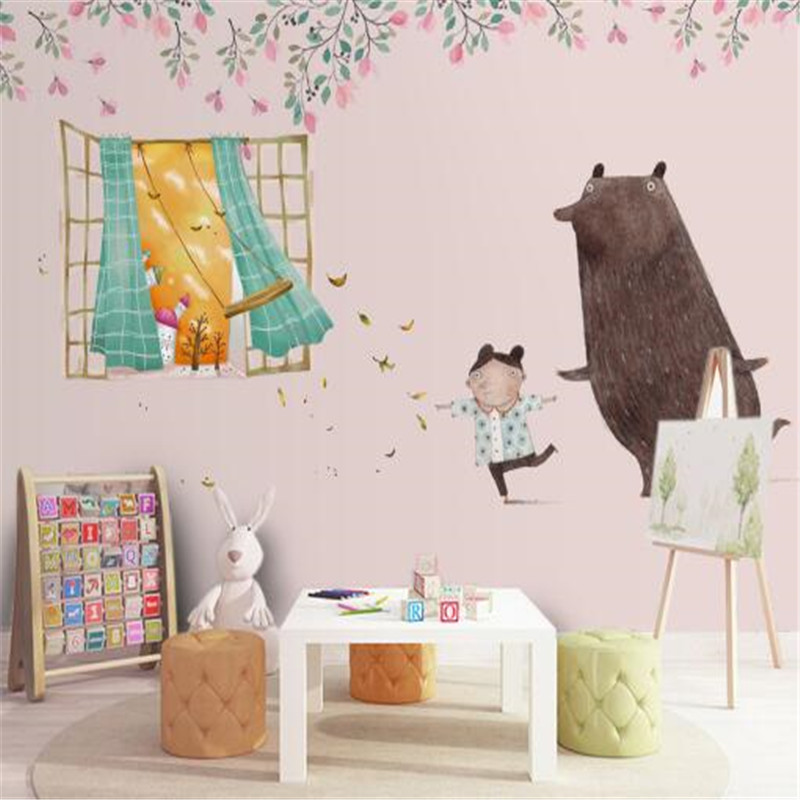 Nordic Cartoon 3D Wall Papers Flowers Murals Black Bear Hand Painting Children Wallpapers for Living Room Green Leaf Home Decor custom large 3d wallpapers cartoon dog cat animals murals kids walls papers for children room living room home decor painting