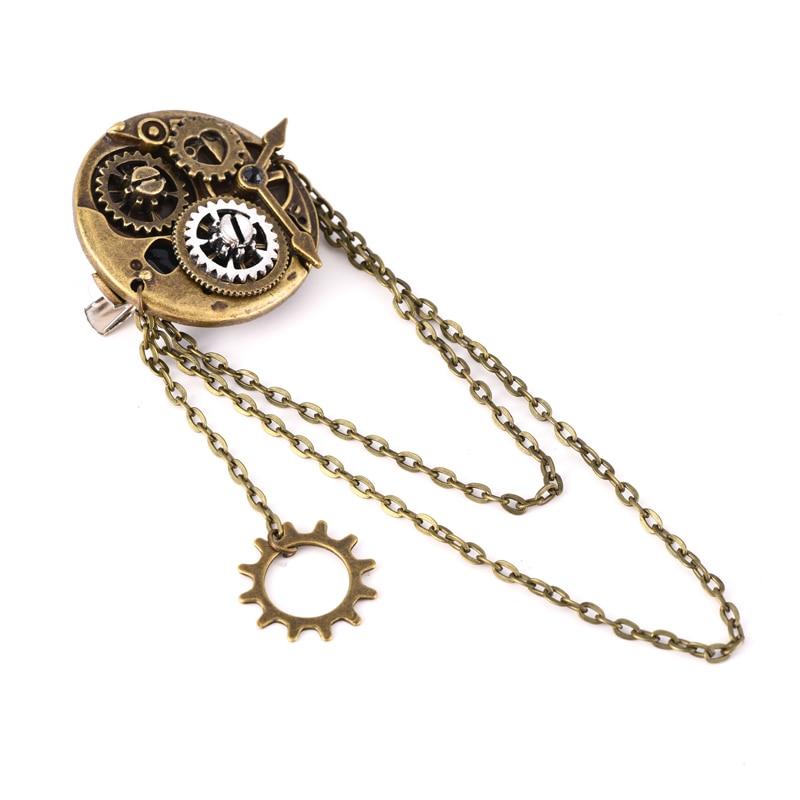 Steampunk Gothic Rock Women Vintage Brooch Bronze Gear Hair Pin Retro Hip Pop Hair Clip Accessories 1