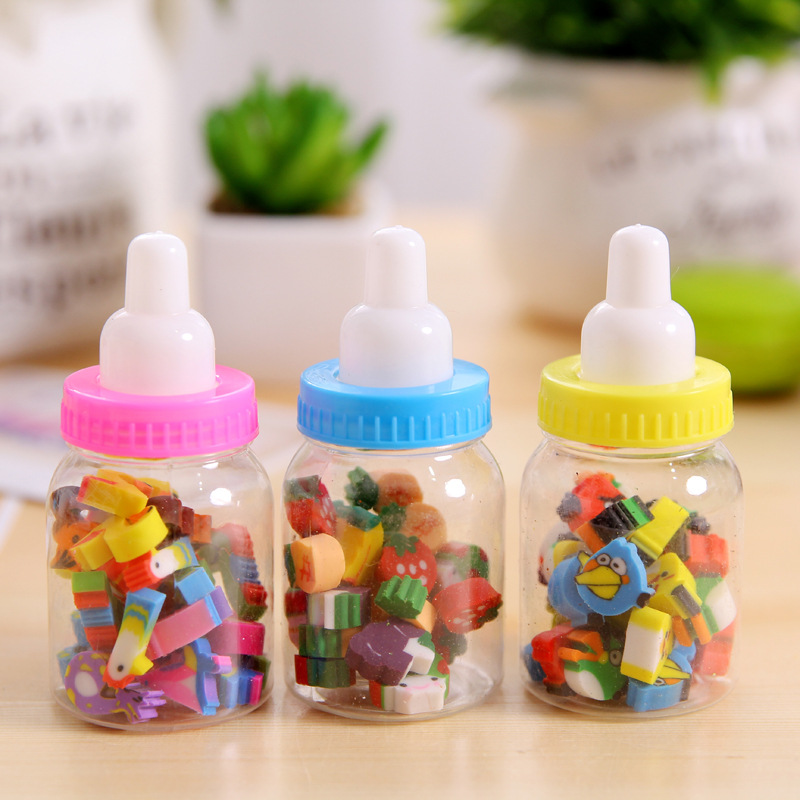 1 Bottle(20pcs) Pencil Erasers Mini Bottle Cartoon Number Rubber Pencil Erasers For Kids Student Gift Office Supplies