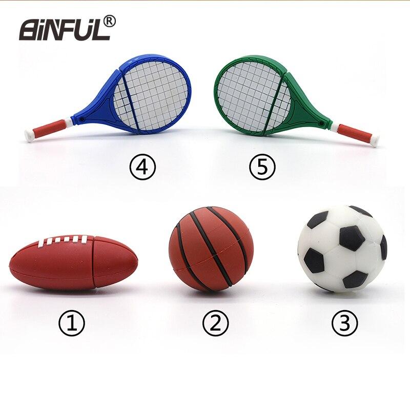 Cartoon Usb Flash Drive 4g 8g 16g 32g 64g Football Pen Drive Basketball Memory Stick Tennis Racket Rugby U Disk Sports Pendrive