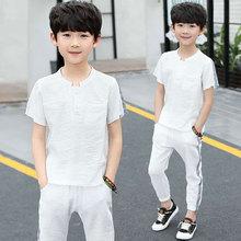 35b84b152e890 جديد أزياء الأطفال طفل الأولاد ملابس الصيف قصيرة الأكمام قمم + السراويل 2  قطعة الزي مجموعة لسن 4 6 8 10 12 13 سنوات الصبي الملاب.
