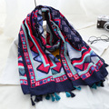 African Ethnic Geometric Tassel Viscose Shawl Bufandas Mujer New 2016 Spain Brand Cotton Voile Echarpe Foulard Femme Head Hijab
