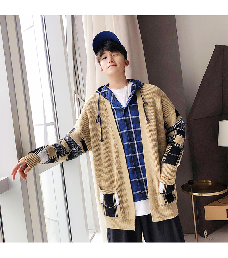 Korean Oversized Sweater Cardigan Men Plaid (5)
