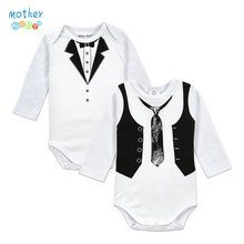 2PCS Gentleman Baby Boy Clothes White Newborn Wedding Clothes Baby Rompers Long Sleeve Overalls Baby Body Jumpsuit(China)