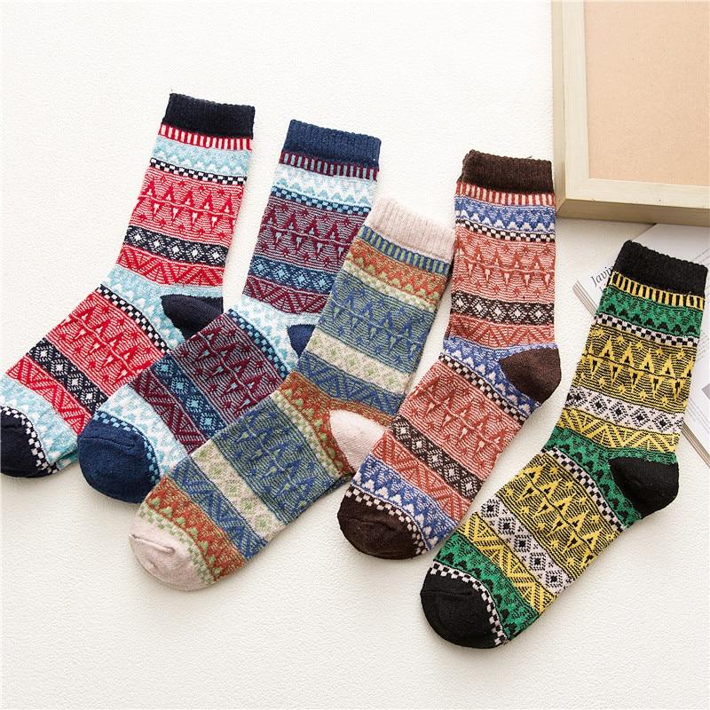 Winter New Men's Harajuku Retro Fashion Wool Socks Thick Warm High Quality Cotton Casual Socks 5 Pairs