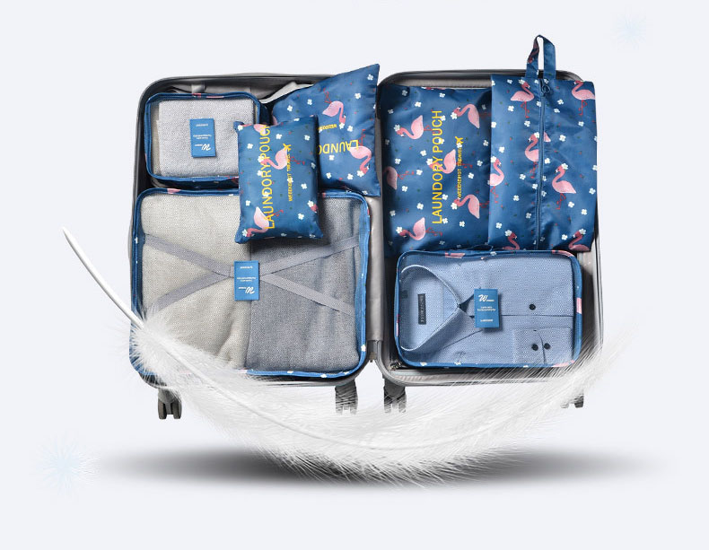 New 7PCS/Set Oxford Cloth Travel Mesh Bag In Bag Luggage Organizer Packing Cube Organiser for Clothing Shoes Travel accessories