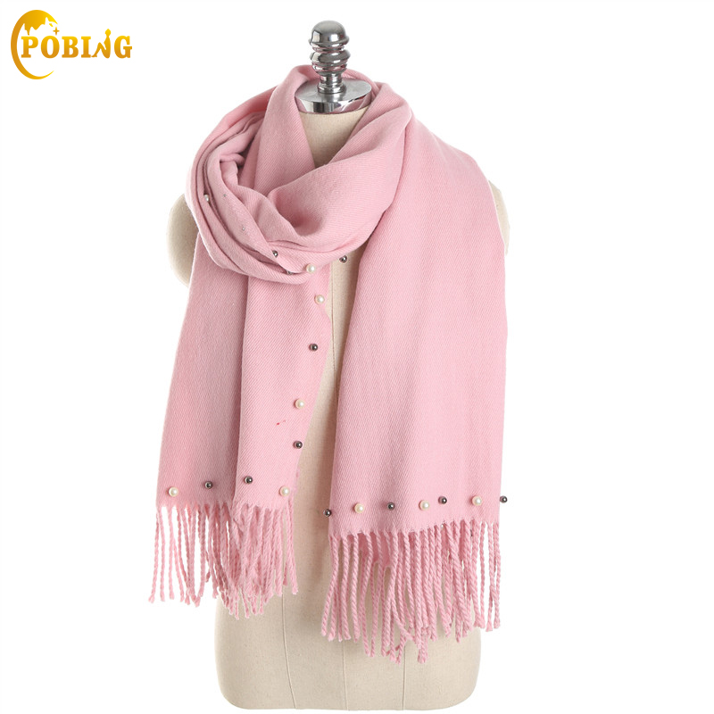 POBING Fashion New Winter   Scarf   Women Pearl Decoration Solid Pashmina Soft Cashmere   Scarves     Wraps   Female Bufandas for Wholesale