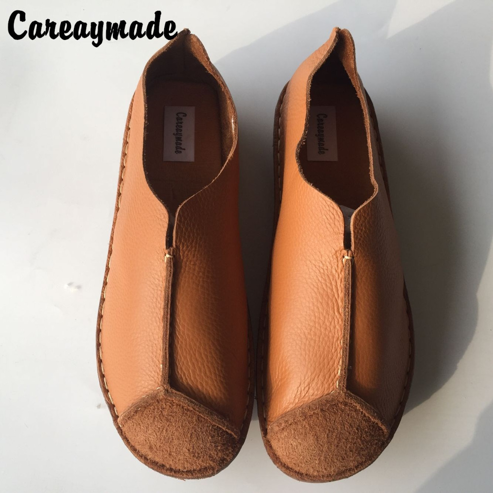 Careaymade-spring,Genuine leather shoes,pure handmade flat shoes,women the retro art mori girl shoes,Women Casual lazy shoes huifengazurrcs new pure handmade casual