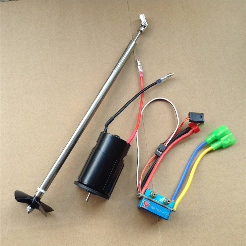 1Set 1Set Bait Boat Power Kit 550 Motor+320A Water Cooling ESC+Drive Shaft+Motor Seat+4Baldes Propeller for RC Electric Boats