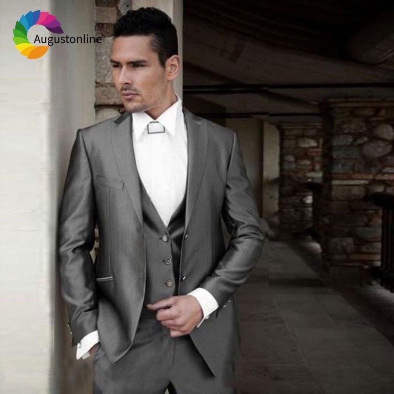Italian Grey Men Suits Wedding Suits For Man Blazer Suit Peaked Lapel 3Piece Jacket Pants Vest Slim Fit Groomsmen Groom Tuxedos