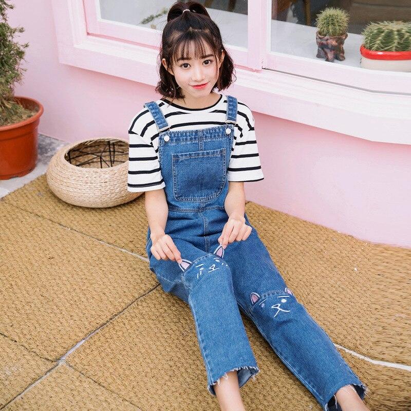 Jeans Cheap Price Plus Size Denim Kawaii Cat Embraoidery Pocket Loose Straight Wide Leg Suspender Jumpsuit Romper Jean Overalls Korean Women Pant