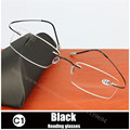 2016 Hot Selling Brand Titanium Rimless Ultra Light Glasses Frame Reading Glasses With Original Case Oculos De Grau
