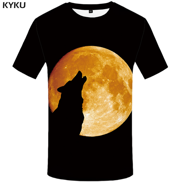 ab089684 New Brand Wolf T shirt Moon Top Tees Black Tops Clothes Womens Tshirts  Womens Anime clothing Rock Chinese Summer