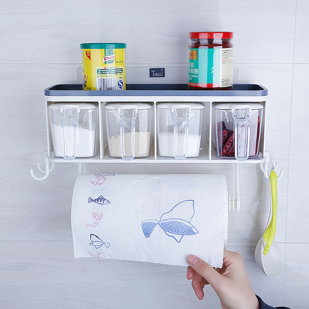 Simple Free Punching Multi-function Wall Hanging Kitchen Seasoning Racks Tool Kitchen Supplies Storage Box Wx8281749