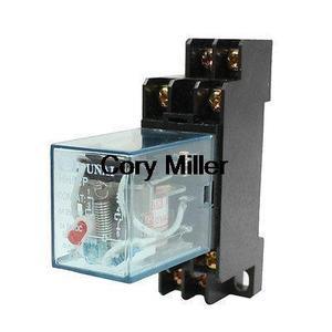 O trilho 220 do ruído de hh52p/240vac bobina dpdt 8 p de uso geral do relé de potência com base dyf08a