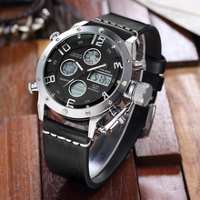 GOLDENHOUR Top Brand Watches Mens Casual Wristwatch Leather Led Watch Men Alarm Sports Quartz Wristwatches Waterproof Male Clock