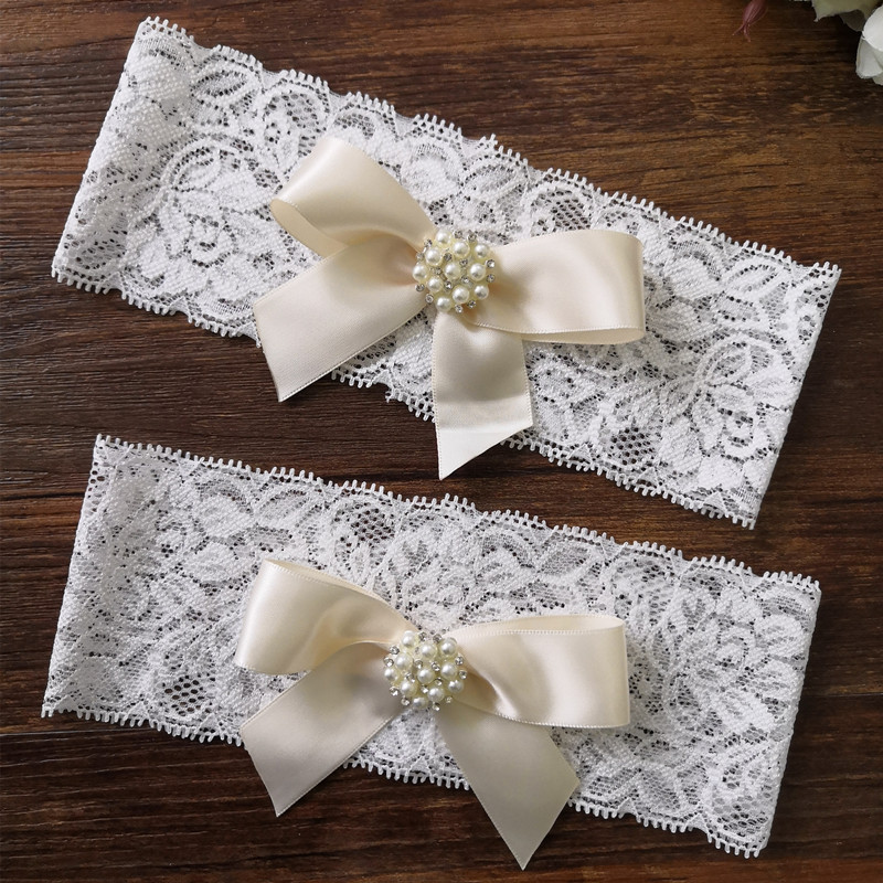 1 Pcs Wedding Garter Lace Garter Crystal Strass Parel Met Boog