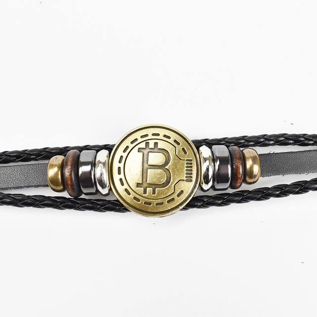 2019 New Bitcoin Bit Coin Bracelet Antique Brass Bracelets Handmade Gift Cryptocurrency Coin 1