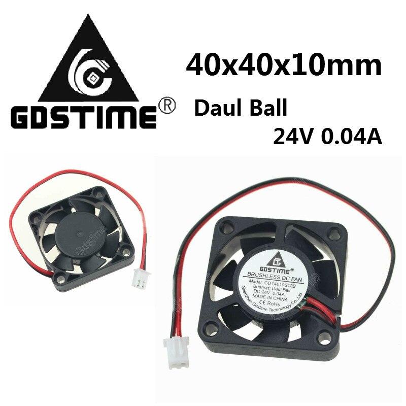 100 pièces Gdstime 24 V 0.04A 40mm x 40mm x 10mm roulement à billes Mini petit DC 3D imprimante refroidissement refroidisseur ventilateur