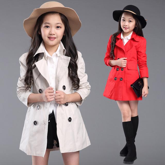 Niñas bebés prendas de abrigo de primavera y otoño de la rebeca medio-largo medio-grande niño doble botonadura niños zanja escudo