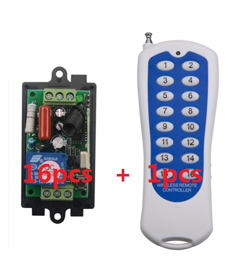 ФОТО Smart wireless remote switch 220V Power Switch System 16 Receiver&1 Transmitter 16CH 10A Light Lamp LED SMD ON OFF+Free shipping