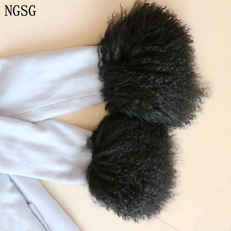2PCS Winter Thick Warm Fur Arm Warmer Sleeve Genuine Mongolian Sheepskin Cuffs Curly Cute Boots Leg Warmers Warm Fur Decorations