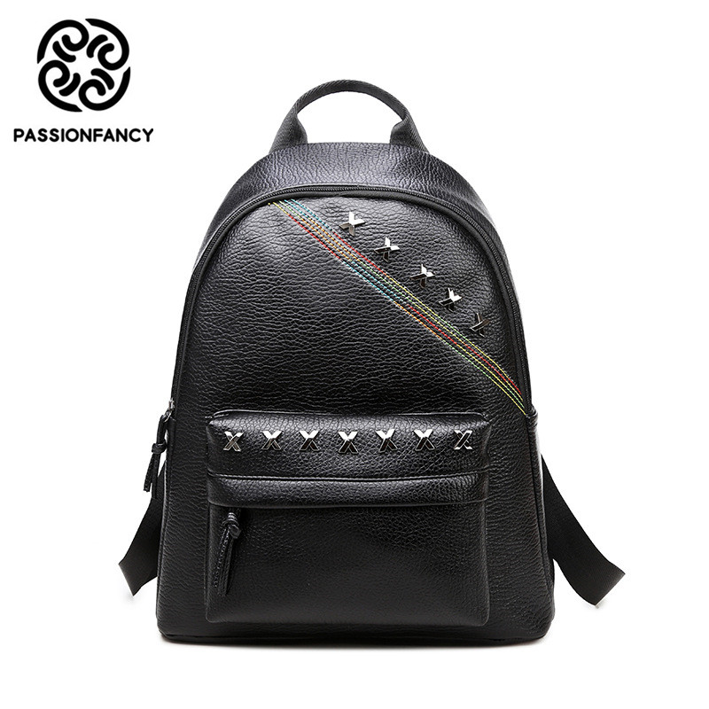 2017 Fashion Female PU women backpack casual preppy pu leather Black Backpacks Rivet Female Girls school