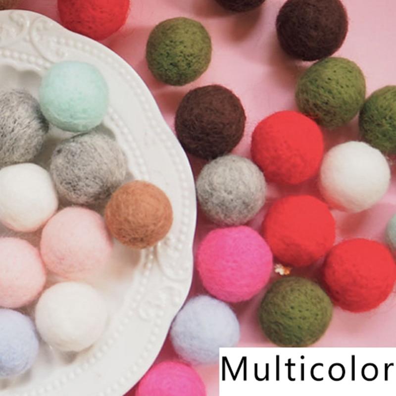 10pcs 2cm Wool Felt Balls Round Wool Felt Balls Pom Poms Mixed color ...
